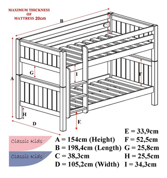Stompa Classic Bunk Beds - Technical Specification
