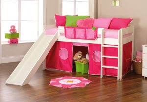 Stompa Play 3 Midsleeper with Slide - Pink & Polka Dots