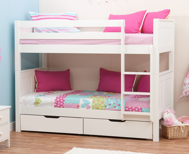 Stompa classic bunk beds with drawers rainbow wood for Small bunk beds