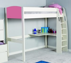 Stompa Uno-S Highsleeper with Desk - Pink