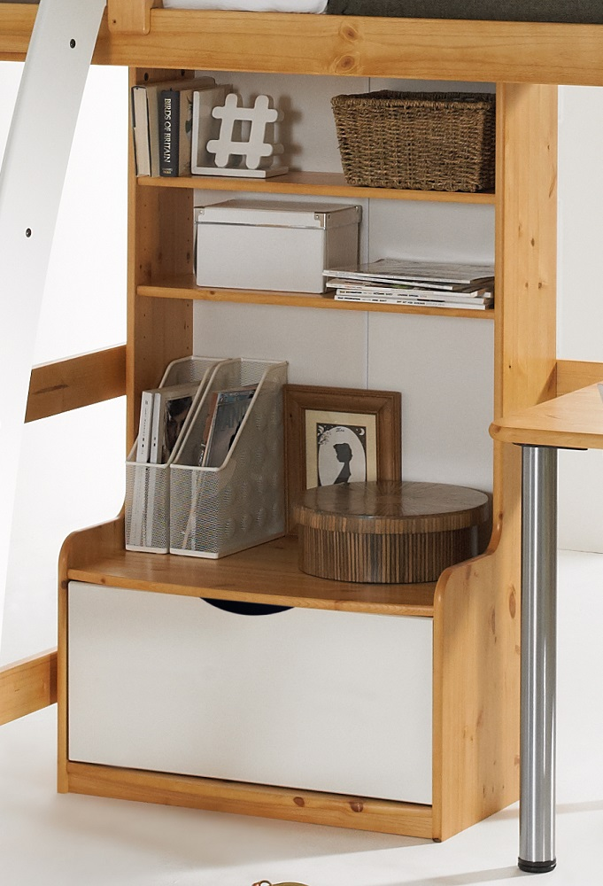 scallywag tall bookcase - honey and white