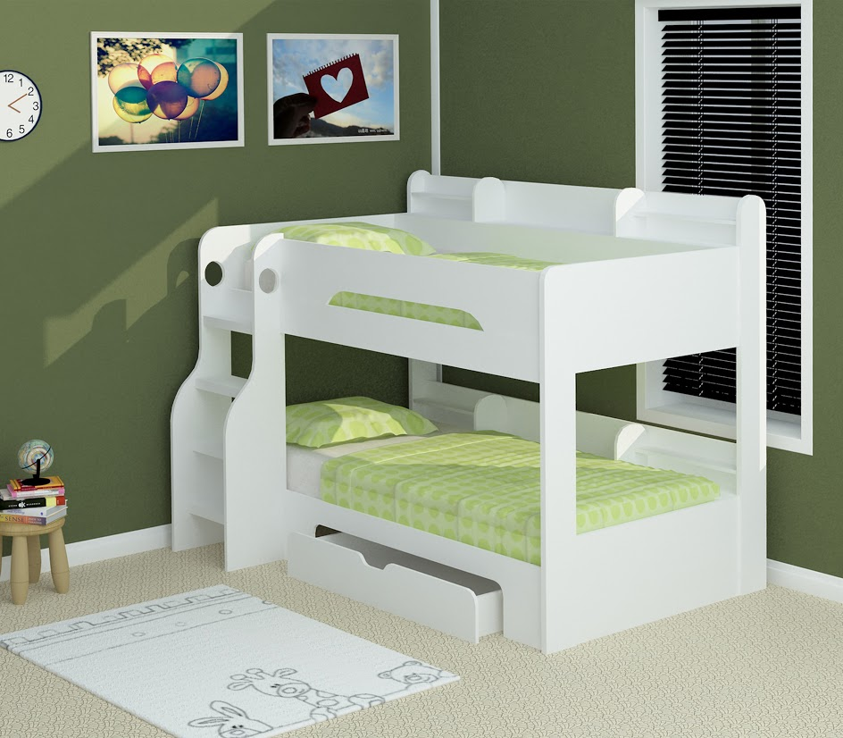 Flick White Bunk Bed Rainbow Wood