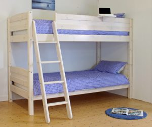Thuka Trendy Bunk Bed A - All White, Sloping Ladder