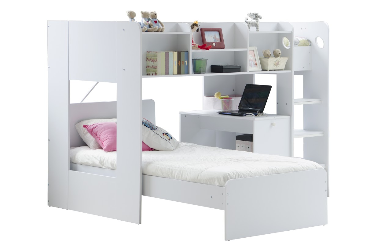 Wizard L Shaped Bunk Bed with Desk