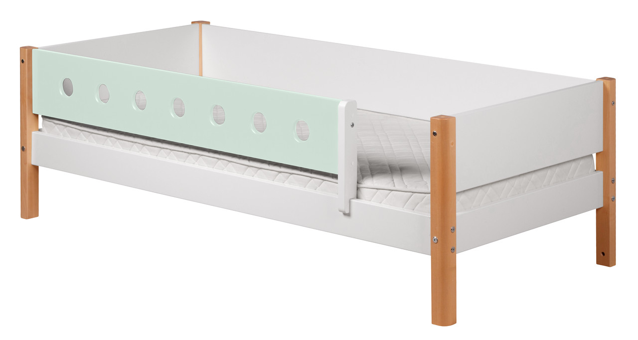 Flexa White Single with front rail - mint/clear lacquer