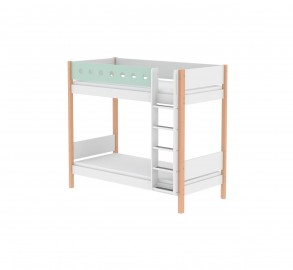 Flexa White Tall Bunk Bed - Mint Green/Clear Lacquer
