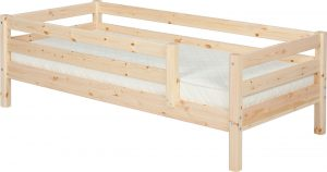 Flexa Classic Bed with safety rail - natural lacquer