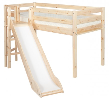 Flexa Classic Midsleeper with angled slide – natural lacquer