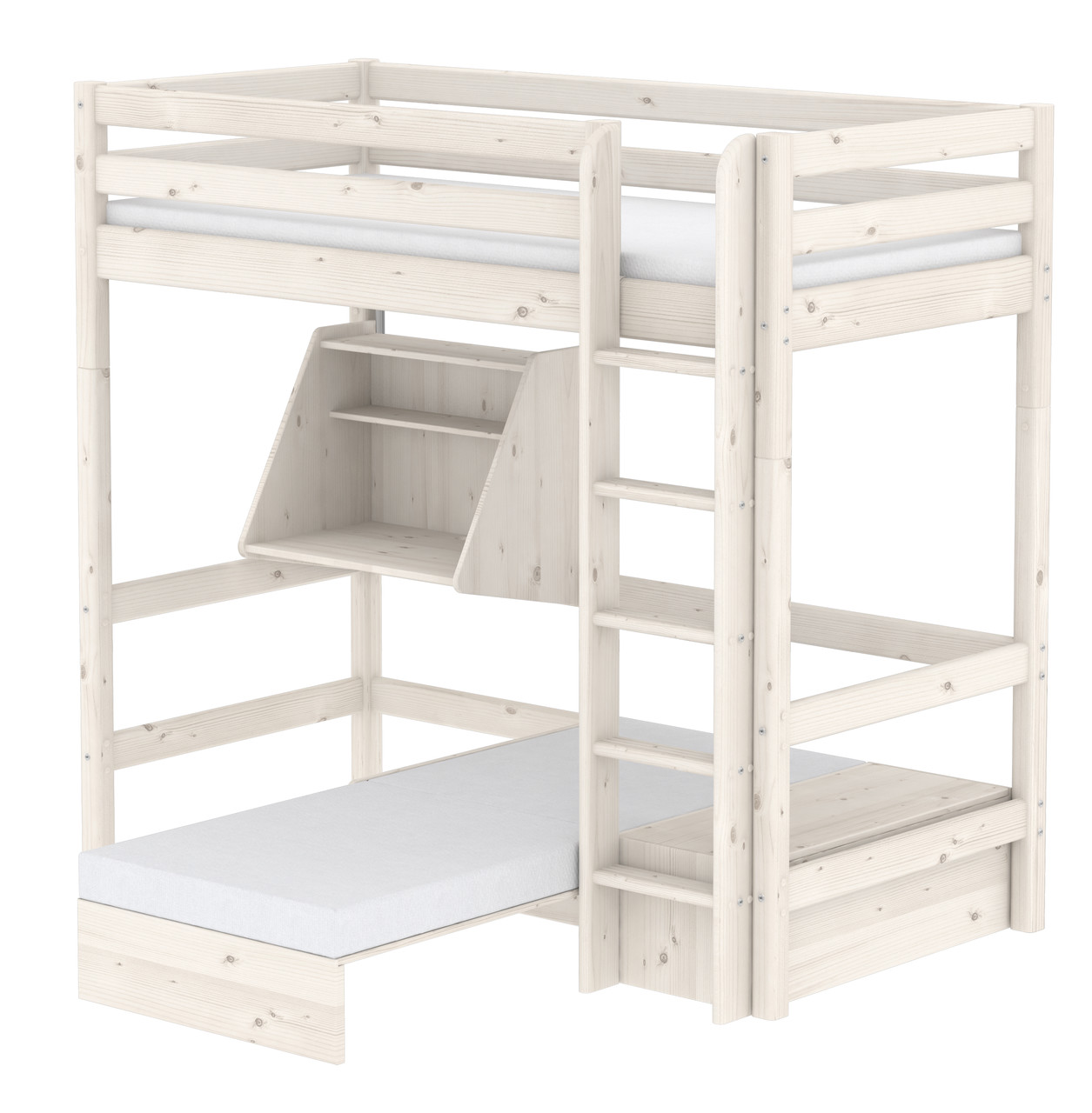 Flexa Classic Casa Highsleeper - Straight Ladder - Whitewash