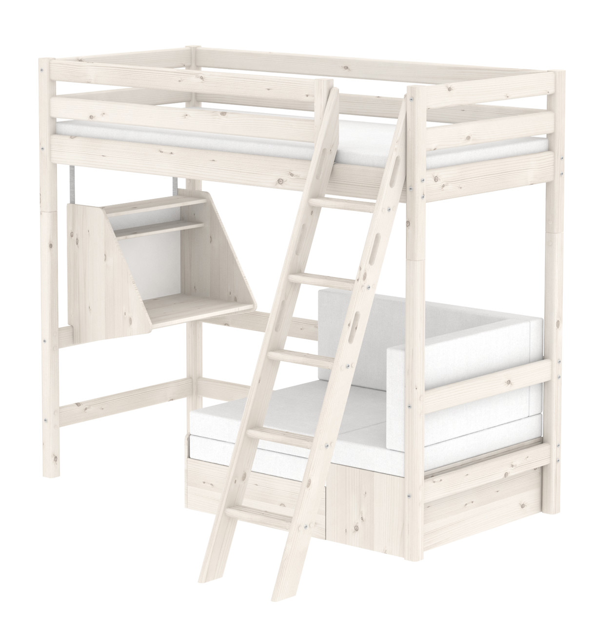Flexa Classic Casa Highsleeper - Sloping Ladder - Whitewash