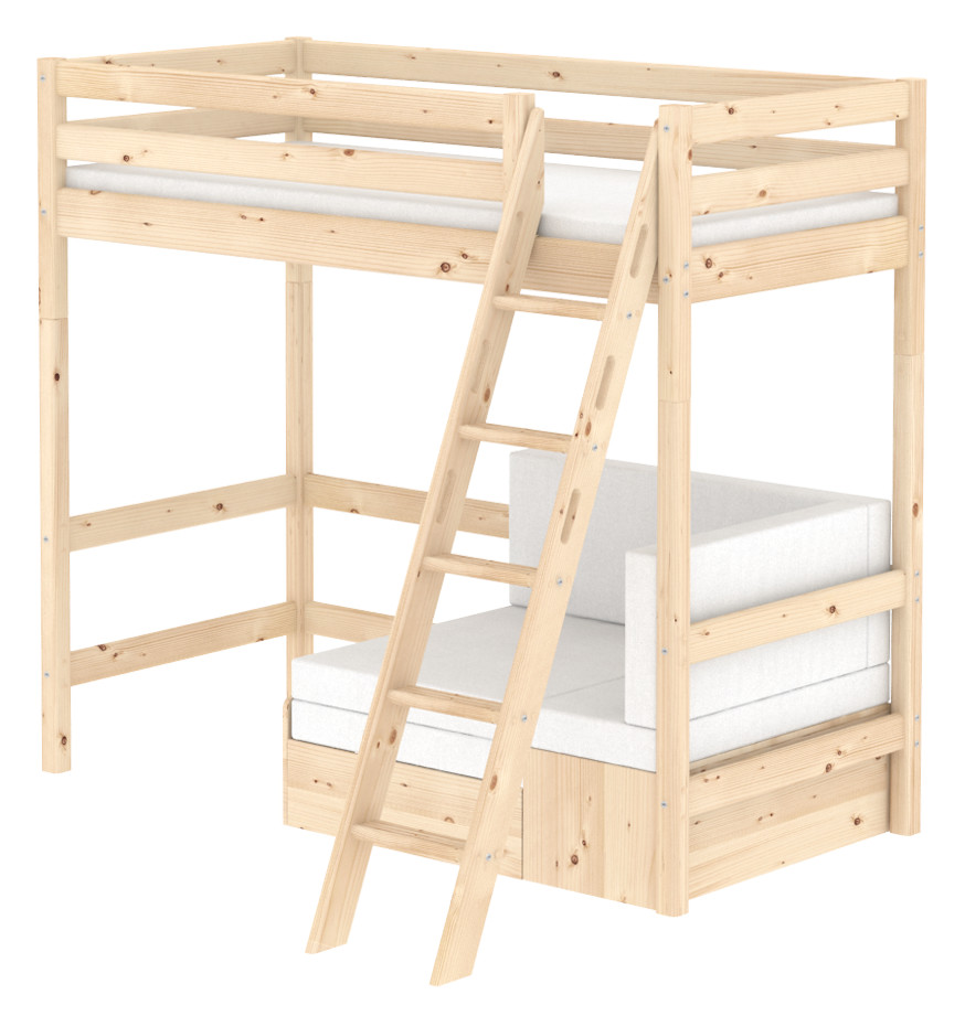 Flexa Classic Highsleeper with Sofa bed- Sloping Ladder - Natural