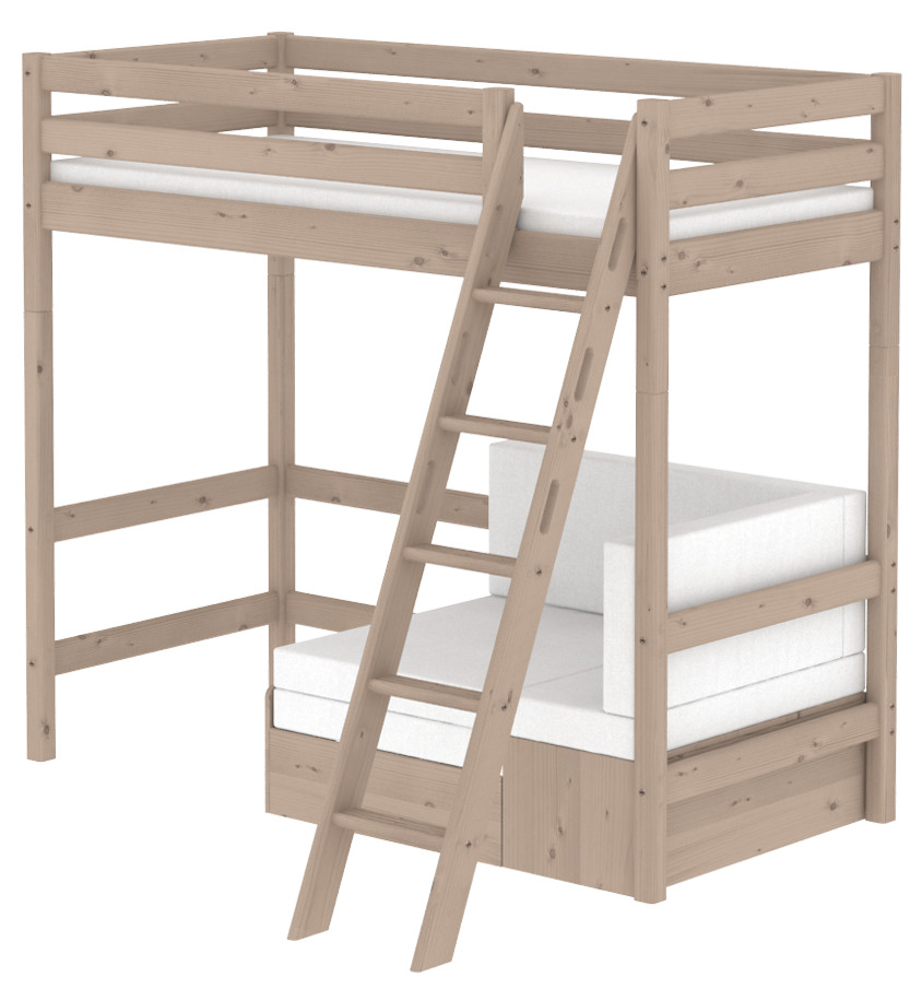 Flexa Classic Highsleeper with Sofa bed- Sloping Ladder - Terra