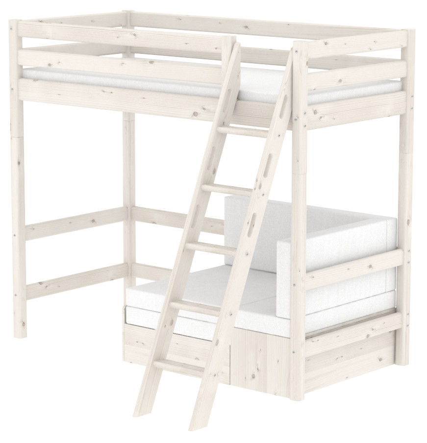 Flexa Classic Highsleeper with Sofa bed- Sloping Ladder - Whitewash