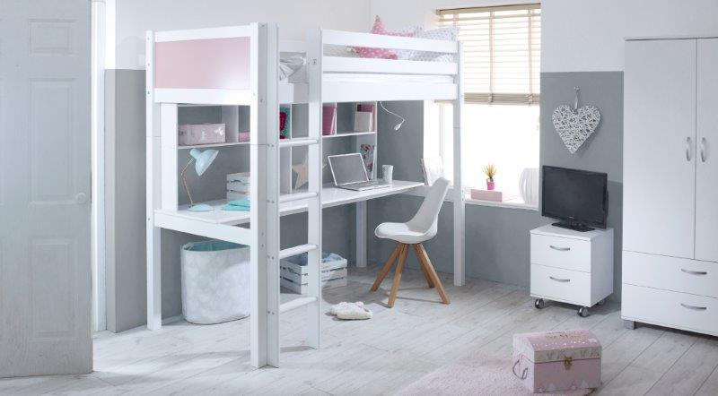 Nordic Highsleeper 2 with Rose Pink Headboards