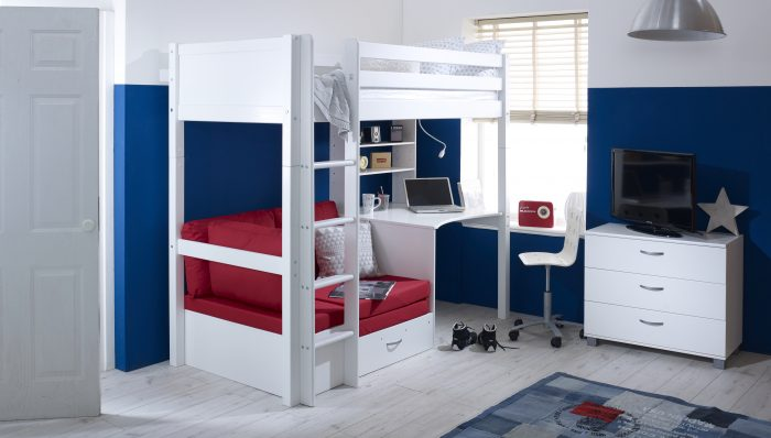 Nordic Highsleeper 3 with White Headboards and Red Futon