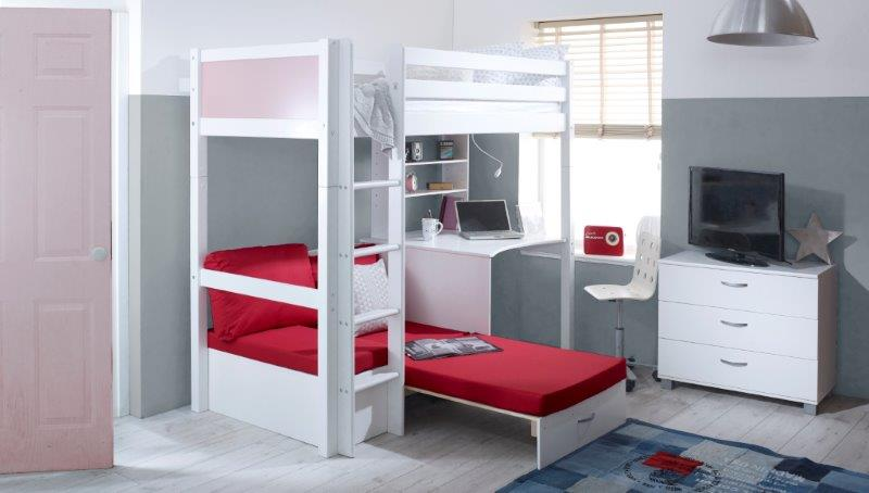 Nordic Highsleeper 3 with Rose Pink Headboards and Red Futon - Extended