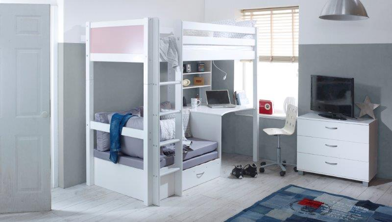 Nordic Highsleeper 3 with Rose Pink Headboards and Silver Futon