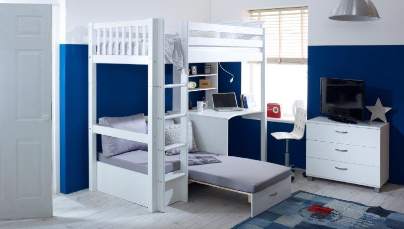 Nordic Highsleeper 3 with Slatted Headboards and Silver Futon - Extended