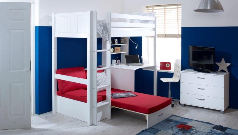 Nordic Highsleeper 3 with Grooved Headboards and Red Futon - Extended