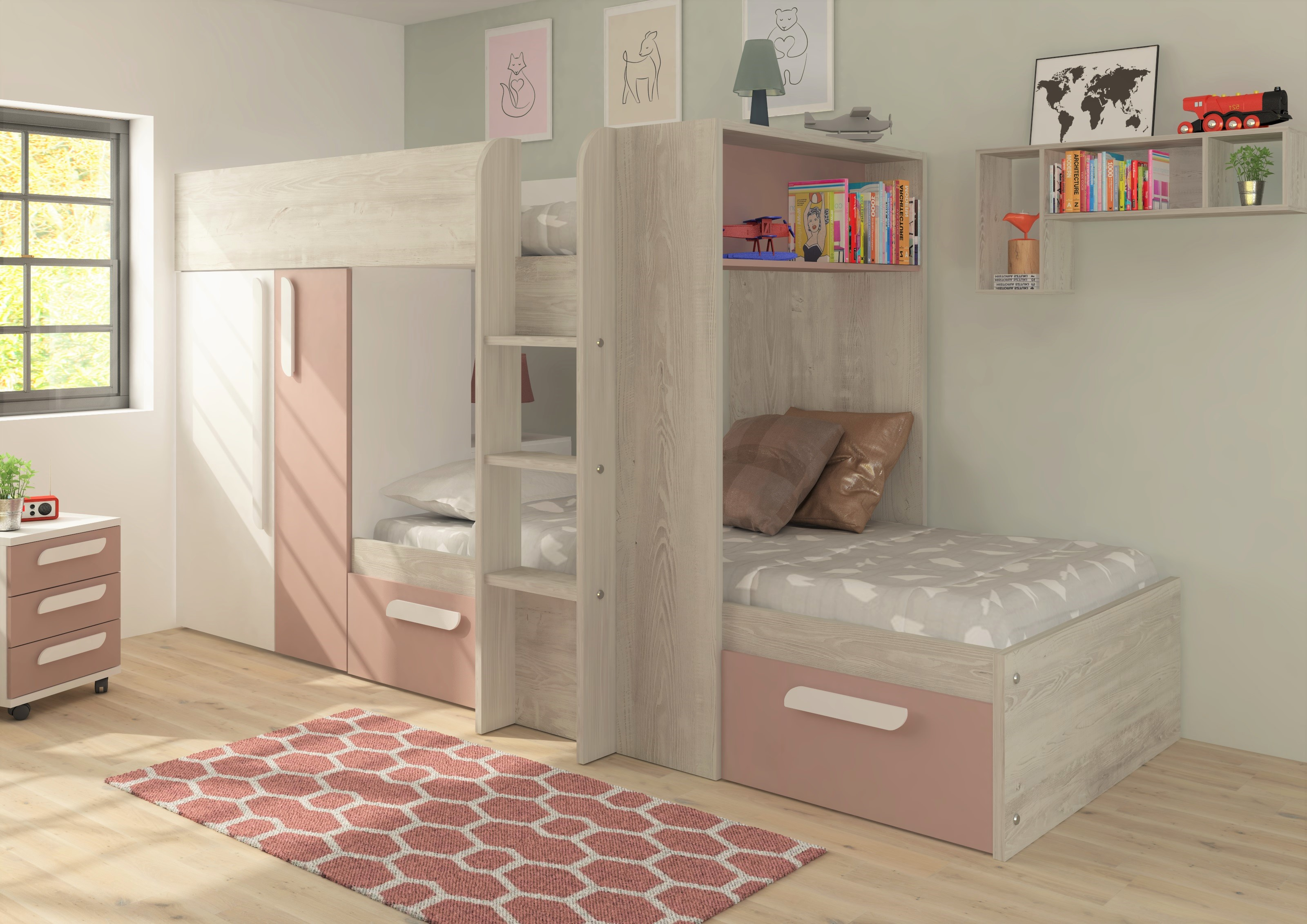 Picture of: Trasman Barca Bunkbed Pink Rainbow Wood