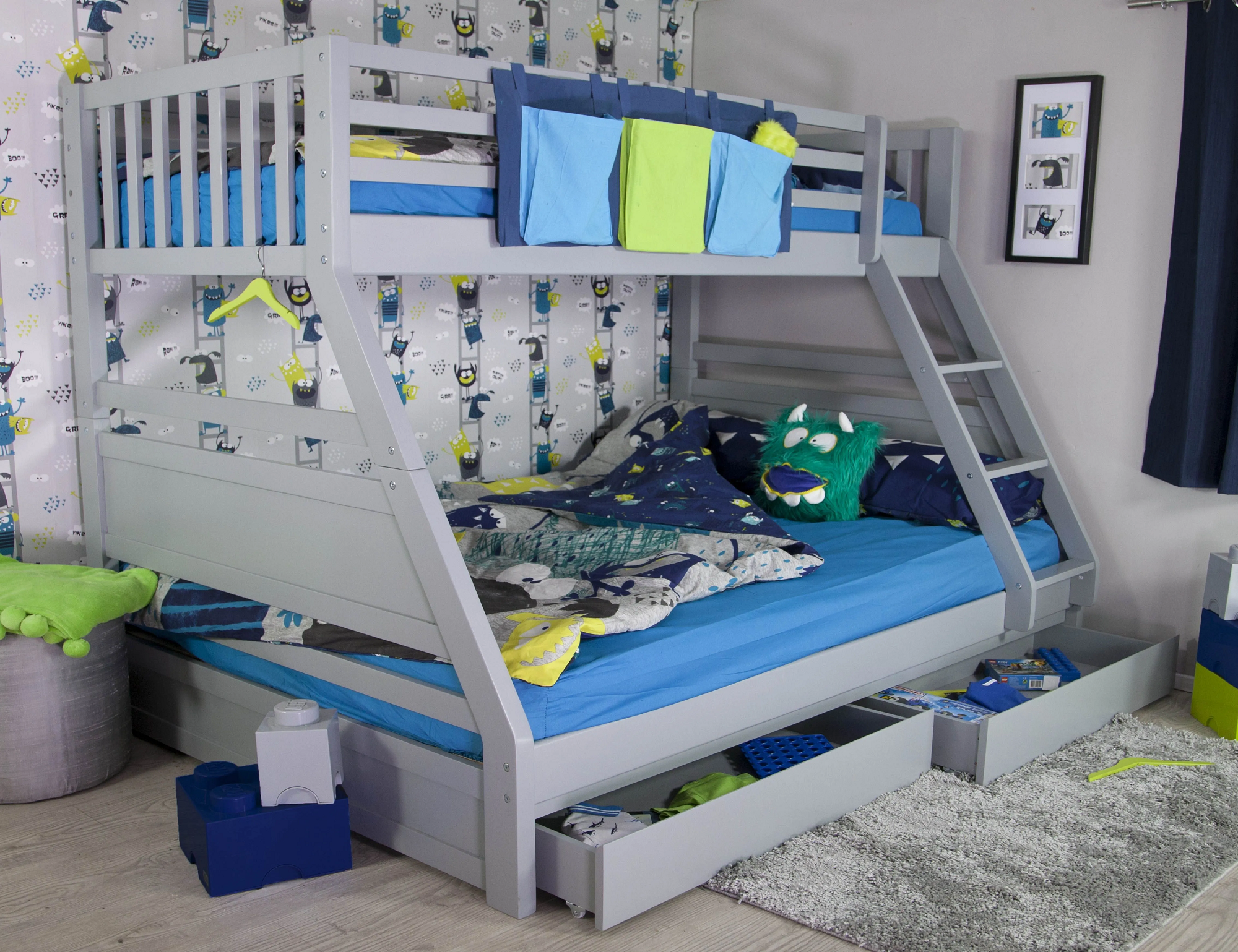 Picture of: Ollie Triple Bunk Bed Grey Rainbow Wood