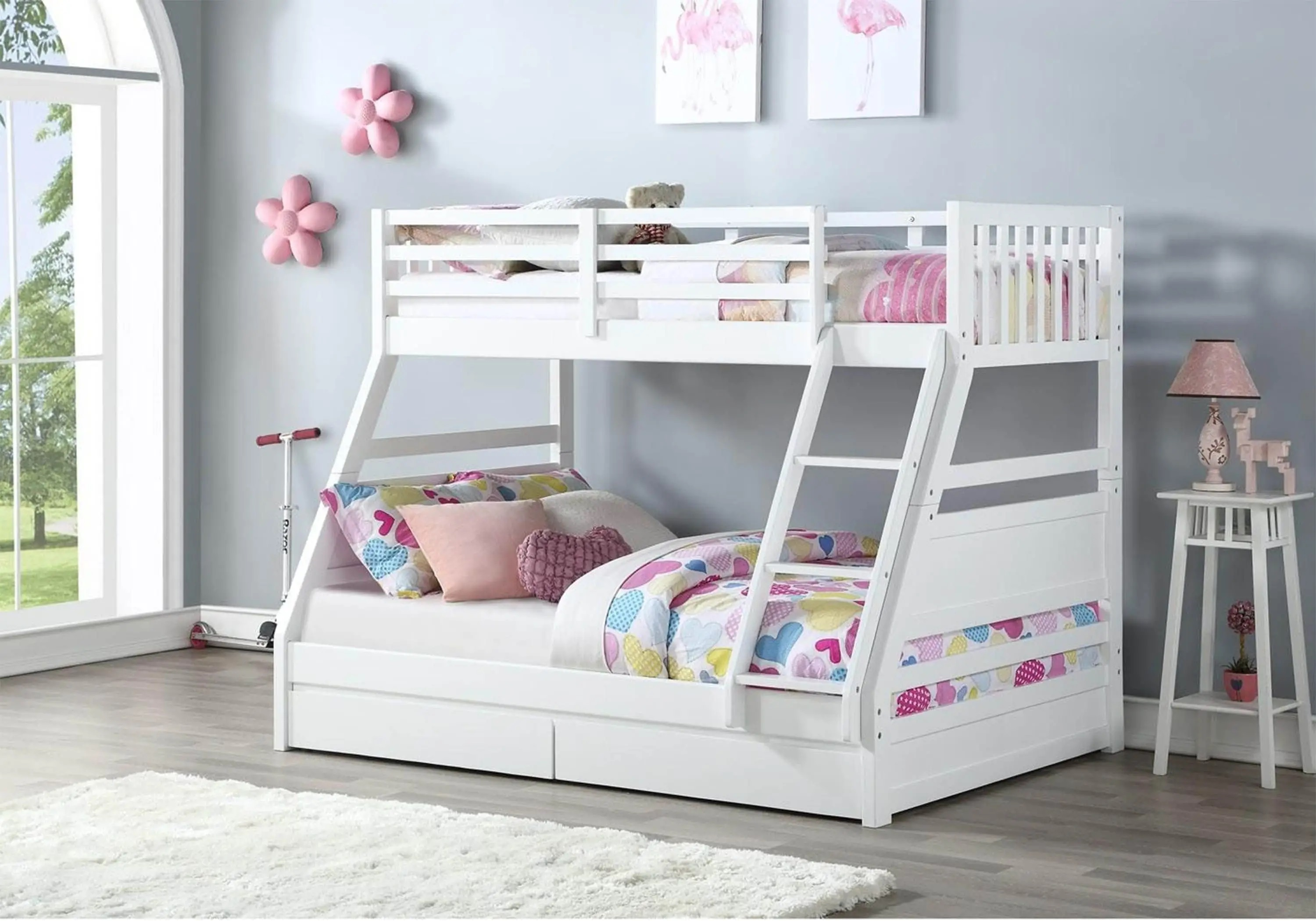 Picture of: Ollie Triple Bunk Bed White Rainbow Wood