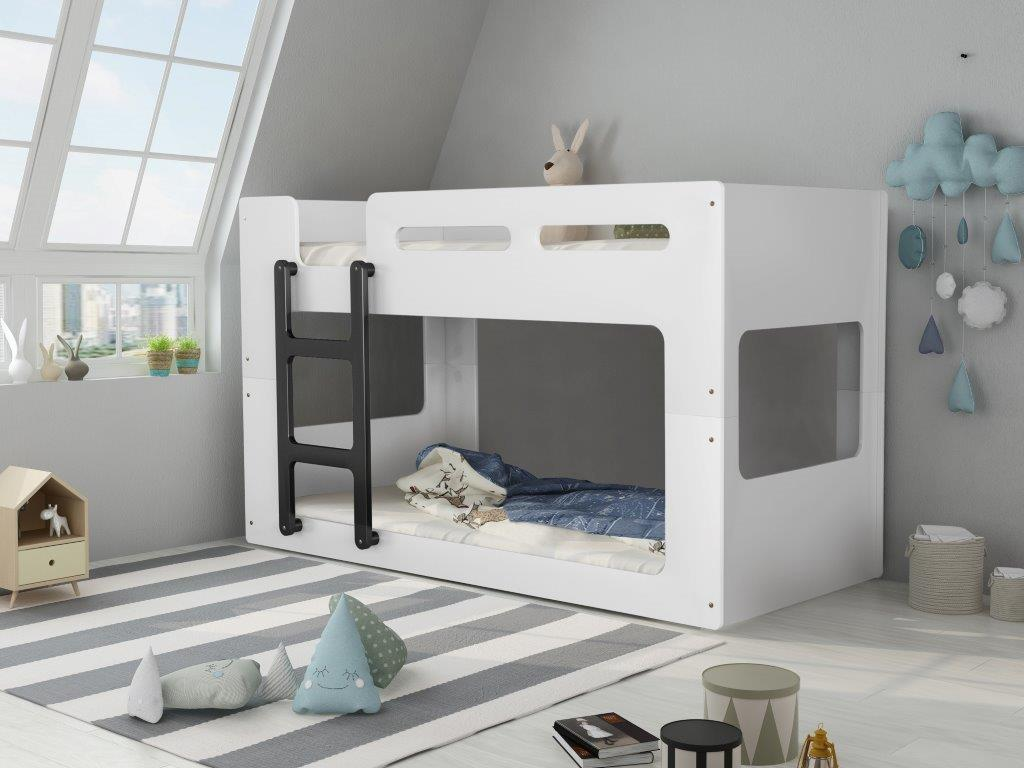 Picture of: Artisan White Low Bunk Bed Rainbow Wood